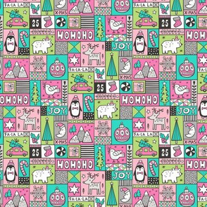 Christmas Patchwork Pink Mint Green Smaller Tiny