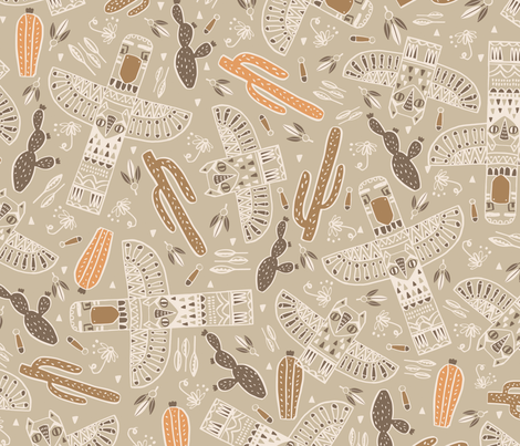 Tribal totem brown fabric by martamunte on Spoonflower - custom fabric