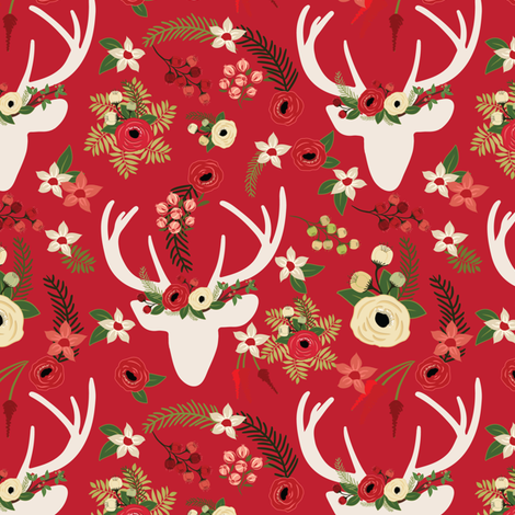 Christmas Floral Deer Winter White  fabric by twodreamsshop on Spoonflower - custom fabric