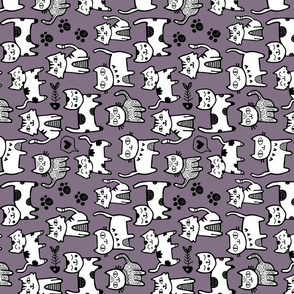 Purple Cat Doodle - Tea Towel