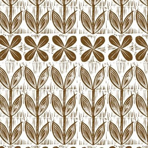 lino block flowers // brown earth