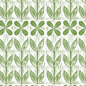 lino block flowers // moss green