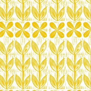 lino block flowers // sunset yellow