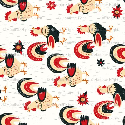 Morning Roosters - Tea Towel