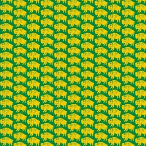Bison Print - Green & Gold (0.75 inch)