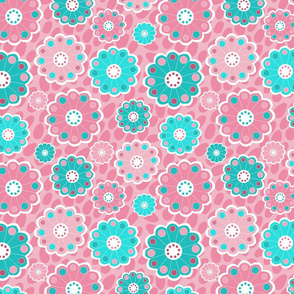 Funky pink and aqua flowers