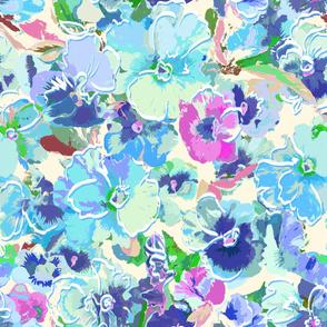 painted pansies - harmonious blues