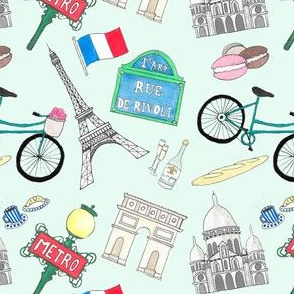Paris Icons small - aqua background