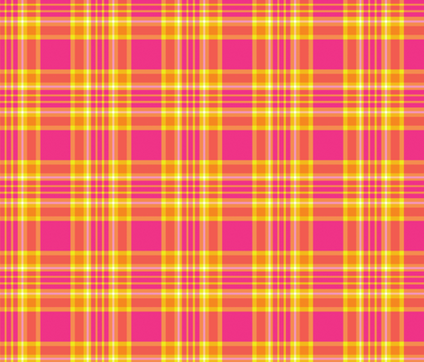 Tropical Plaid - Pink, Orange, and Yellow fabric by northern_whimsy on Spoonflower - custom fabric