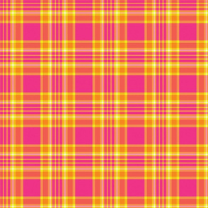 Tropical Plaid - Pink, Orange, and Yellow