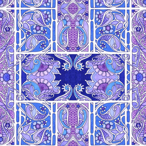 Blue and Purple Posy Patch fabric by edsel2084 on Spoonflower - custom fabric