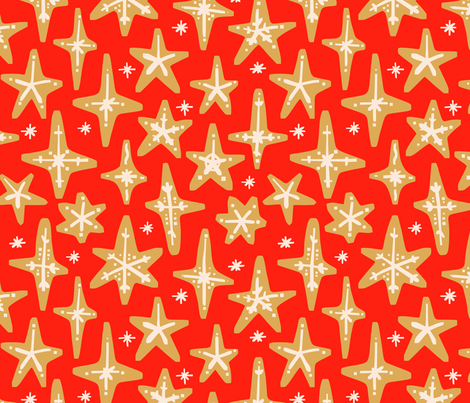 Gingerbread Stars on Red (Large) fabric by janetdrummond on Spoonflower - custom fabric