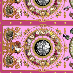 2 horizontal medusa cherubs angels birds gold flowers floral leaves leaf cameo men women portraits acanthus jewels gems pearls versace inspired wreath borders frames squirrels pigeons doves baroque rococo pink