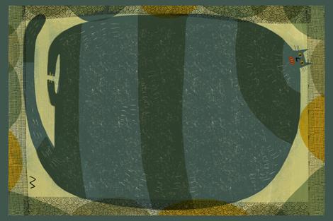 Cat Tea towel fabric by kimmurton on Spoonflower - custom fabric