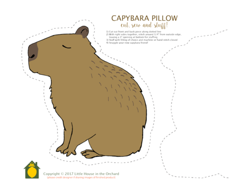 Capybara Pillow Kit fabric by houseintheorchard on Spoonflower - custom fabric