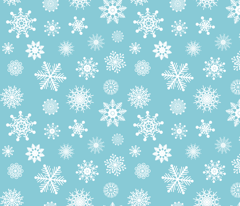 Snowflakes in Blue fabric by calobeedoodles on Spoonflower - custom fabric