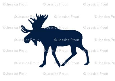 navy moose on white