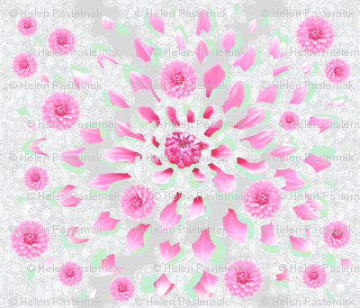 Fragmented Dahlia_White-Lace (mint-silver)