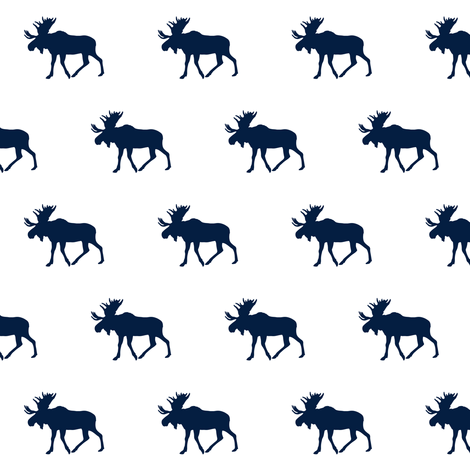 navy moose on white (small scale) fabric by littlearrowdesign on Spoonflower - custom fabric