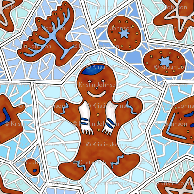 Hanukkah Gingerbread Cookie Mosaic