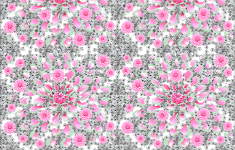 Fragmented Pink Dahlia on Black Lace (white) fabric by helenpdesigns on Spoonflower - custom fabric