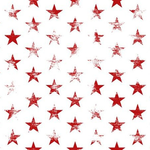 Distressed Red Stars on White (Grunge Vintage 4th of July American Flag Stars)