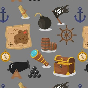 Pirates at sea on gray