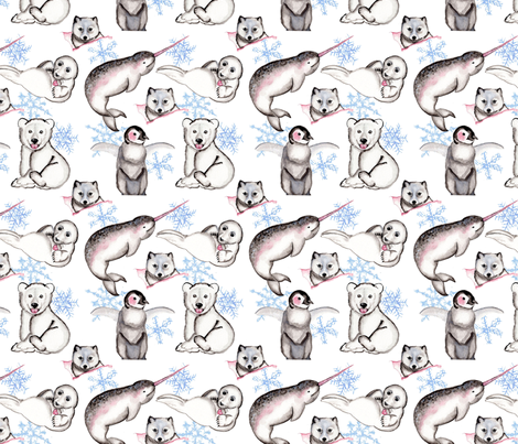 Acrtic Animals fabric by among_the_willows on Spoonflower - custom fabric