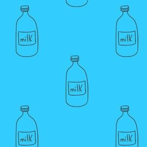 Milk jugs on blue