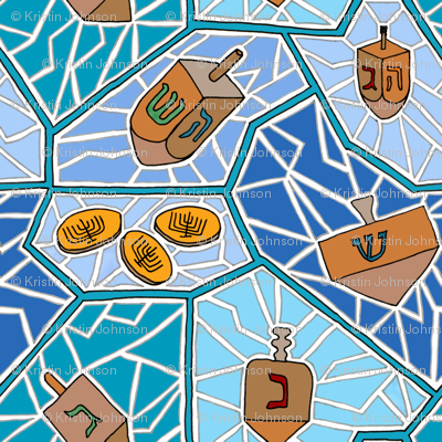 Hanukkah Dreidel Mosaic Pattern in Dark Blues