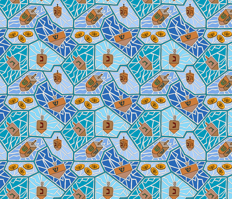 Hanukkah Dreidel Mosaic Pattern in Dark Blues fabric by theplumgrove on Spoonflower - custom fabric