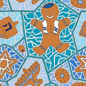 Hanukkah Gingerbread Cookie Mosaic in Dark Blue