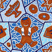 Hanukkah Gingerbread Cookie Mosaic in Dark Blue