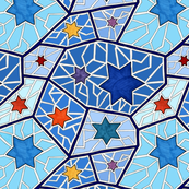 Hanukkah Star of David Mosaic in Dark Blue