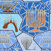 Hanukkah Menorah Mosaic Pattern in Dark Blue