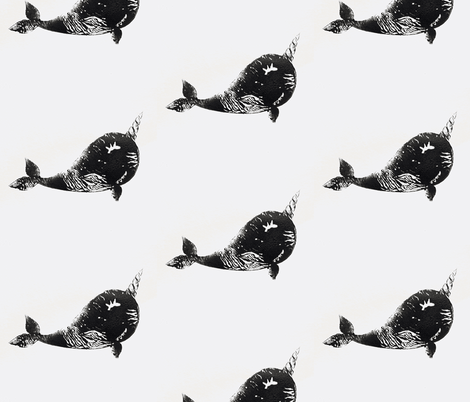 Textured narwhal fabric by silksieve on Spoonflower - custom fabric