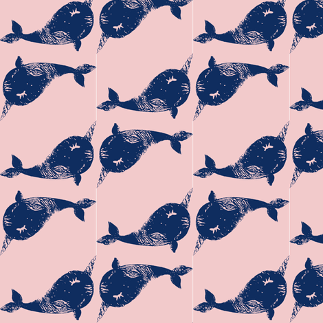 Textured narwhal blue blush plushie fabric by silksieve on Spoonflower - custom fabric