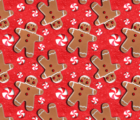 Gingerbread Cookies Peppermint Candies fabric by linda_baysinger_peck on Spoonflower - custom fabric