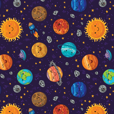 Happy Space rotate fabric by penguinhouse on Spoonflower - custom fabric