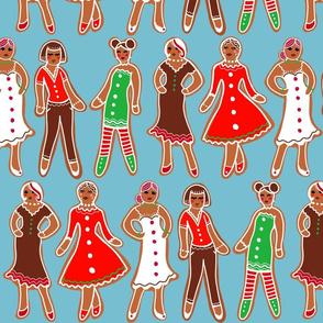 gingerbread ladies on dusty blue
