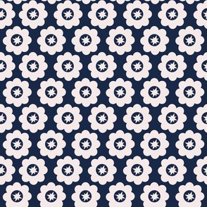 Navy Retro Geometric Floral