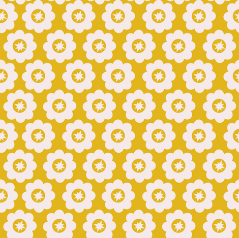 Yellow Retro Geometric Floral fabric by ms_jenny_lemon on Spoonflower - custom fabric