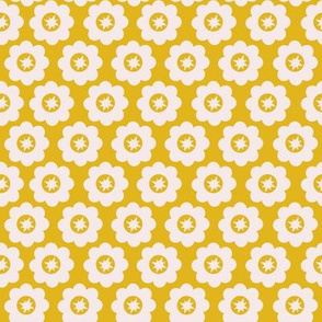 Yellow Retro Geometric Floral
