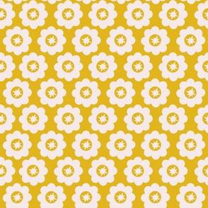 Yellow Retro Geometric Floral