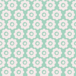 Mint Retro Geometric Floral