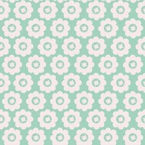 Mint Retro Geometric Floral