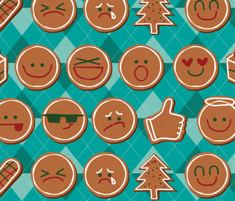 gingerbread emoji fabric by dramacatz on Spoonflower - custom fabric