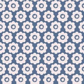 Blue Retro Geometric Floral