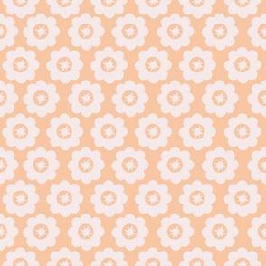 Peach Retro Geometric Floral