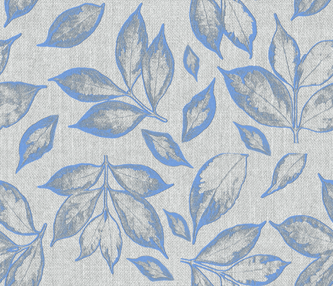 burlap grey placid blue leaves  fabric by mypetalpress on Spoonflower - custom fabric